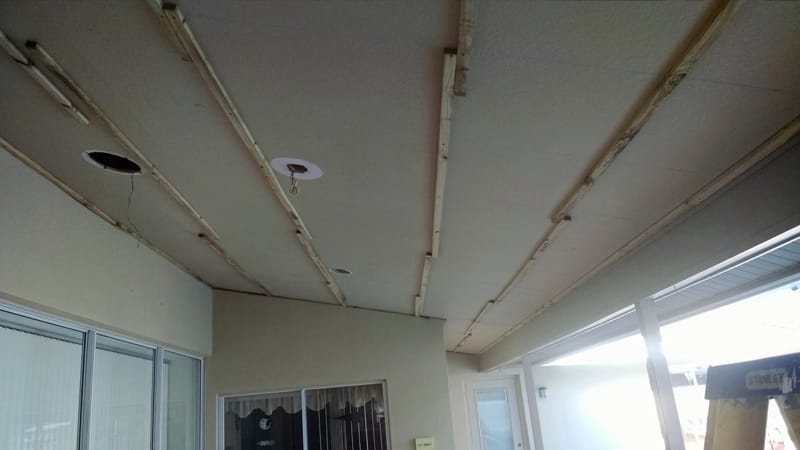 vinyl ceiling installation before photo